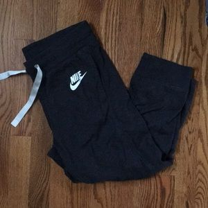 Nike size small dark gray cropped sweatpants
